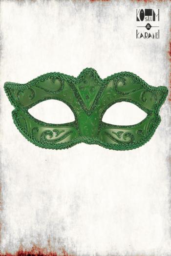 Venetiaans Masker Dames Groen Glitter
