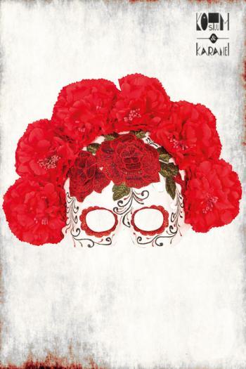 Halfmasker Skull met bloemen