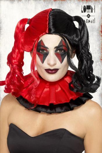 Harley Quinn Pruik Rood Zwart