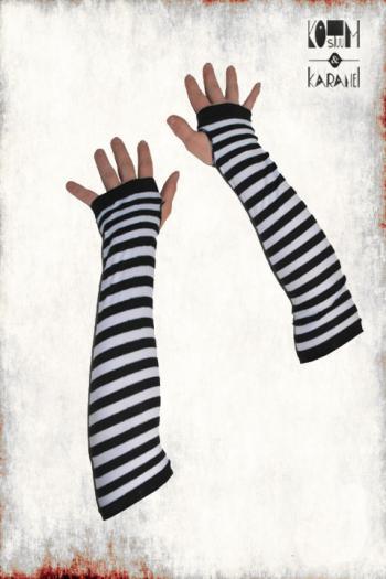 Handschoenen Wit Zwart Gestreept