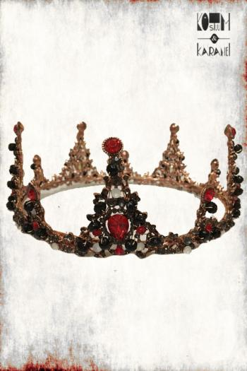 Kroon Metaal Koningin Rood Zwart