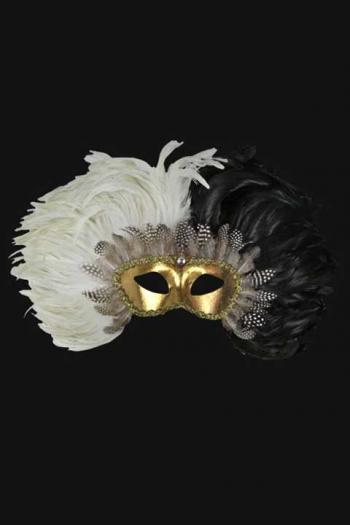 Venetiaans Verenmasker Heren Zwart Wit Chaos