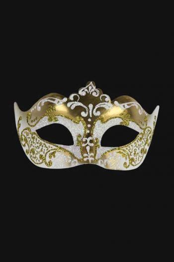 Venetiaans Oogmasker Vrouw Wit Goud Hera