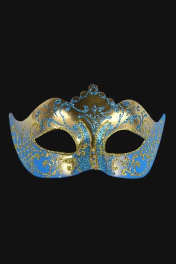 Venetiaans Oogmasker Dames Blauw Goud Hera