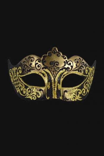 Venetiaans Oogmasker Vrouw Zwart Goud Hera