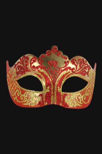 Venetiaans Oogmasker Dames Rood Goud Hera