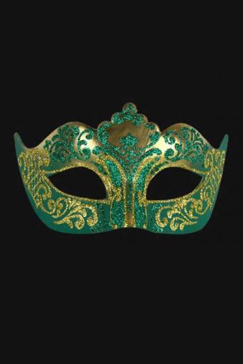 Venetiaans Oogmasker Dames Groen Goud Hera