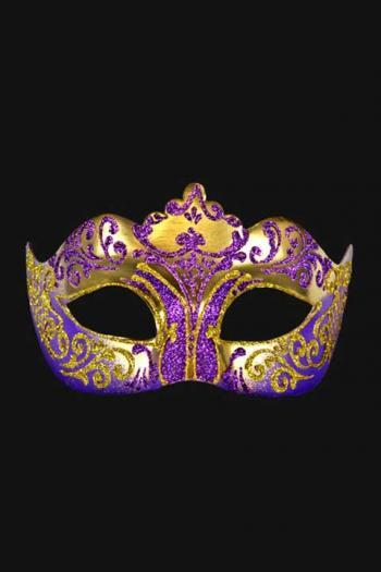 Venetiaans Oogmasker Dames Paars Goud Hera