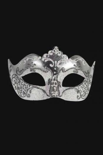 Venetiaans Oogmasker Vrouw Wit Zilver Hera