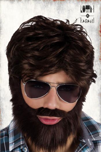 Bruine pruik met baard Hipster Look
