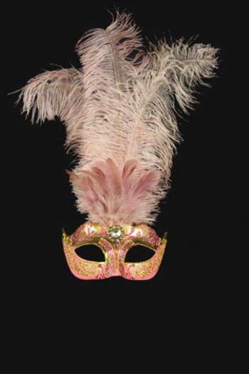 Venetiaans Damesmasker met veren Roze Goud Aphrodité