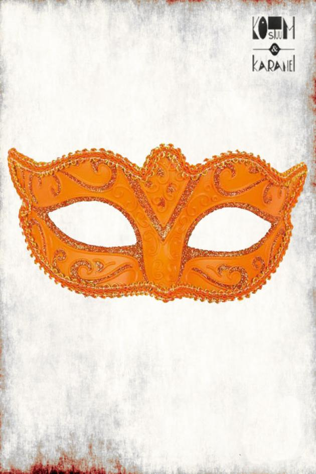 Venetiaans Masker Vrouwen Oranje Glitter