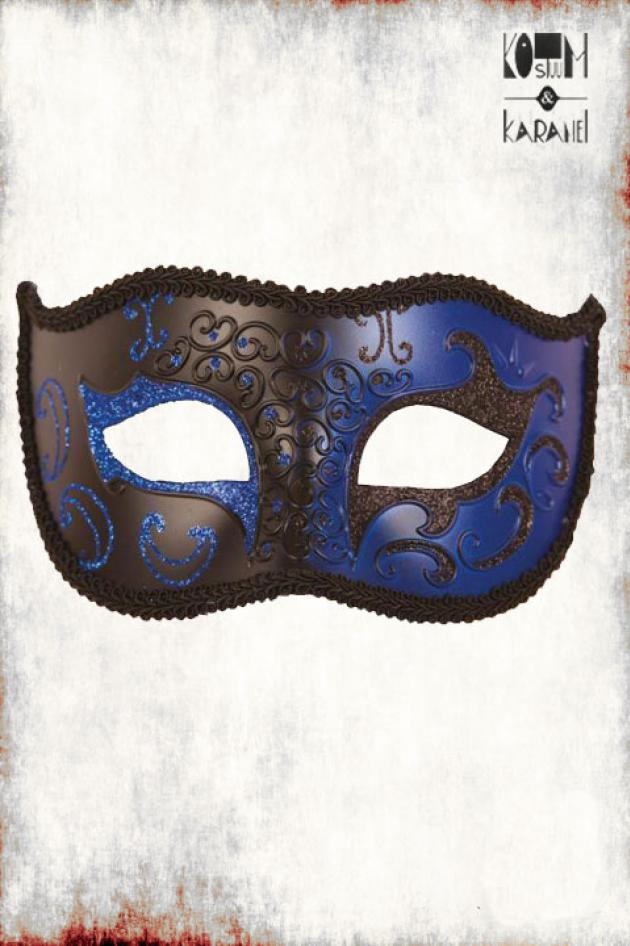 Venetiaans Masker Heren blauw zwart