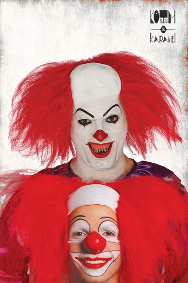 Horror clown pruik rood