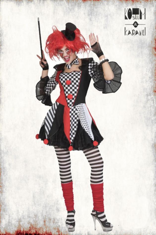 Clownkleedje in Polyester Dame