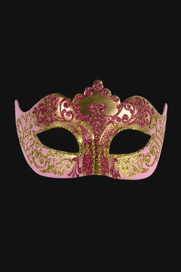 Venetiaans Oogmasker Dames Roze Goud Hera