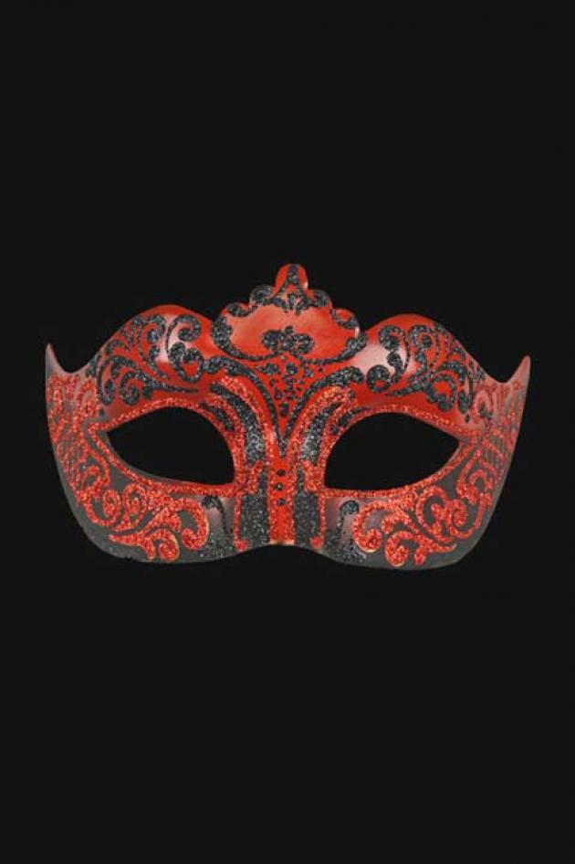 Venetiaans Oogmasker Vrouw Zwart Rood Hera