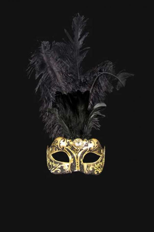 Venetiaans Damesmasker met veren Zwart Goud Aphrodité