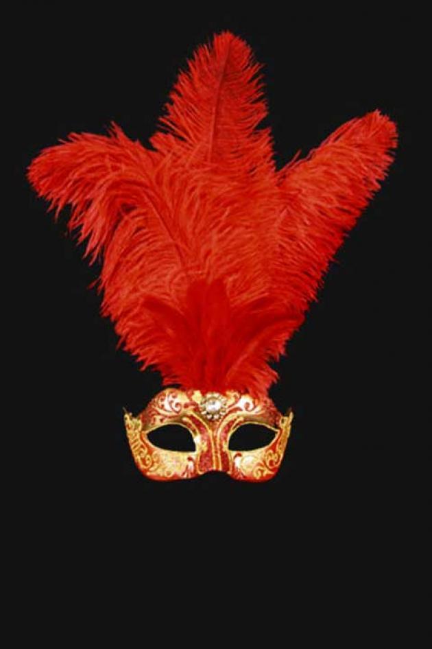 Venetiaans Damesmasker met pluimen Rood Goud Aphrodité