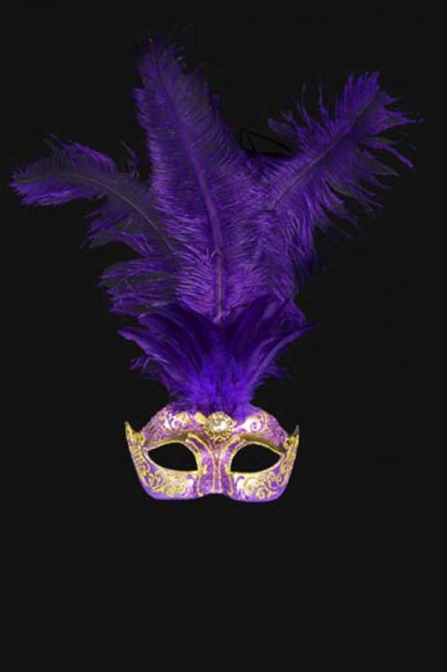 Venetiaans Damesmasker met pluimen paars goud Aphrodité